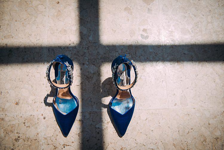 Bridal Royal Blue Badgley Mischka Shoes Beautiful Traditional Greek Destination Wedding in Cyprus http://www.jonnybarratt.com/