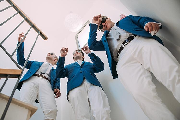 Groomsmen Royal Blue Coat White Chino Beautiful Traditional Greek Destination Wedding in Cyprus http://www.jonnybarratt.com/