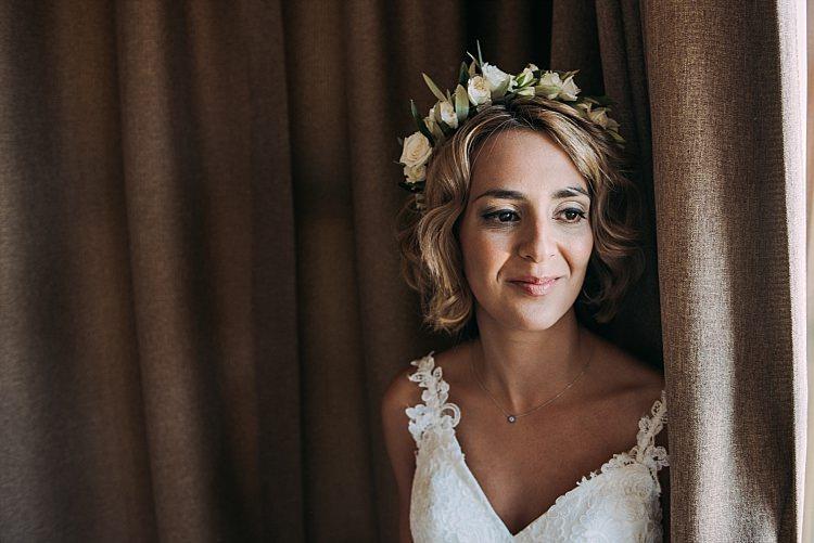 Bride Stella York Lace Gown Flower Crown Beautiful Traditional Greek Destination Wedding in Cyprus http://www.jonnybarratt.com/
