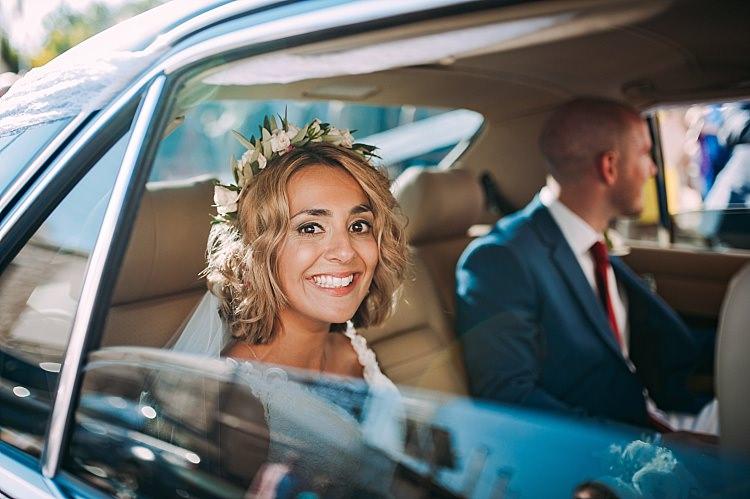 Bride Flower Crown Veil Groom Smile Car Beautiful Traditional Greek Destination Wedding in Cyprus http://www.jonnybarratt.com/