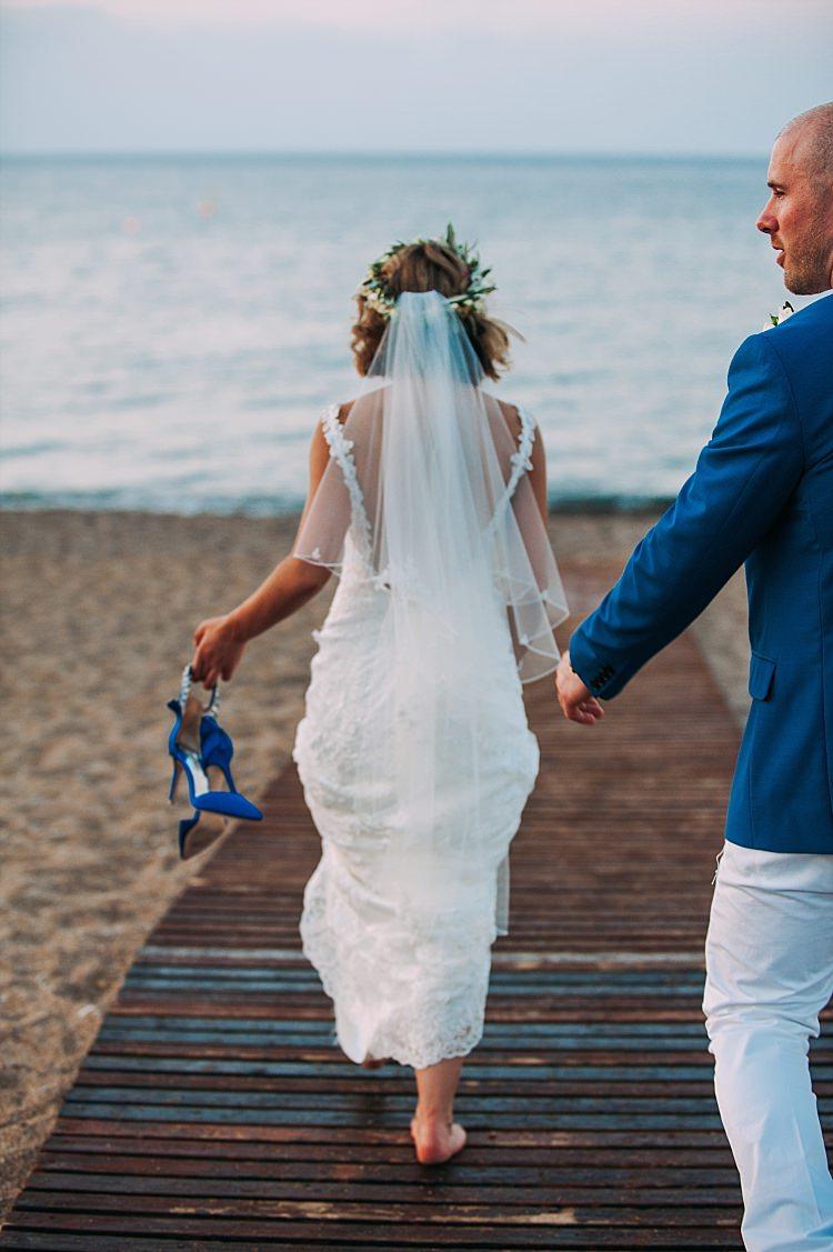 Bride Stella York Lace Gown Veil Badgley Mischka Shoes Groom Royal Blue Ocean Beautiful Traditional Greek Destination Wedding in Cyprus http://www.jonnybarratt.com/