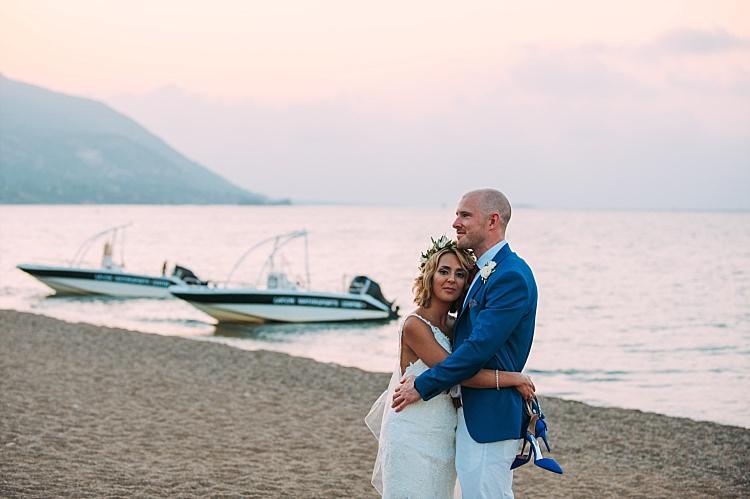 Bride Stella York Lace Gown Badgley Mischka Shoes Groom Royal Blue Coat Ocean Sunset Beautiful Traditional Greek Destination Wedding in Cyprus http://www.jonnybarratt.com/