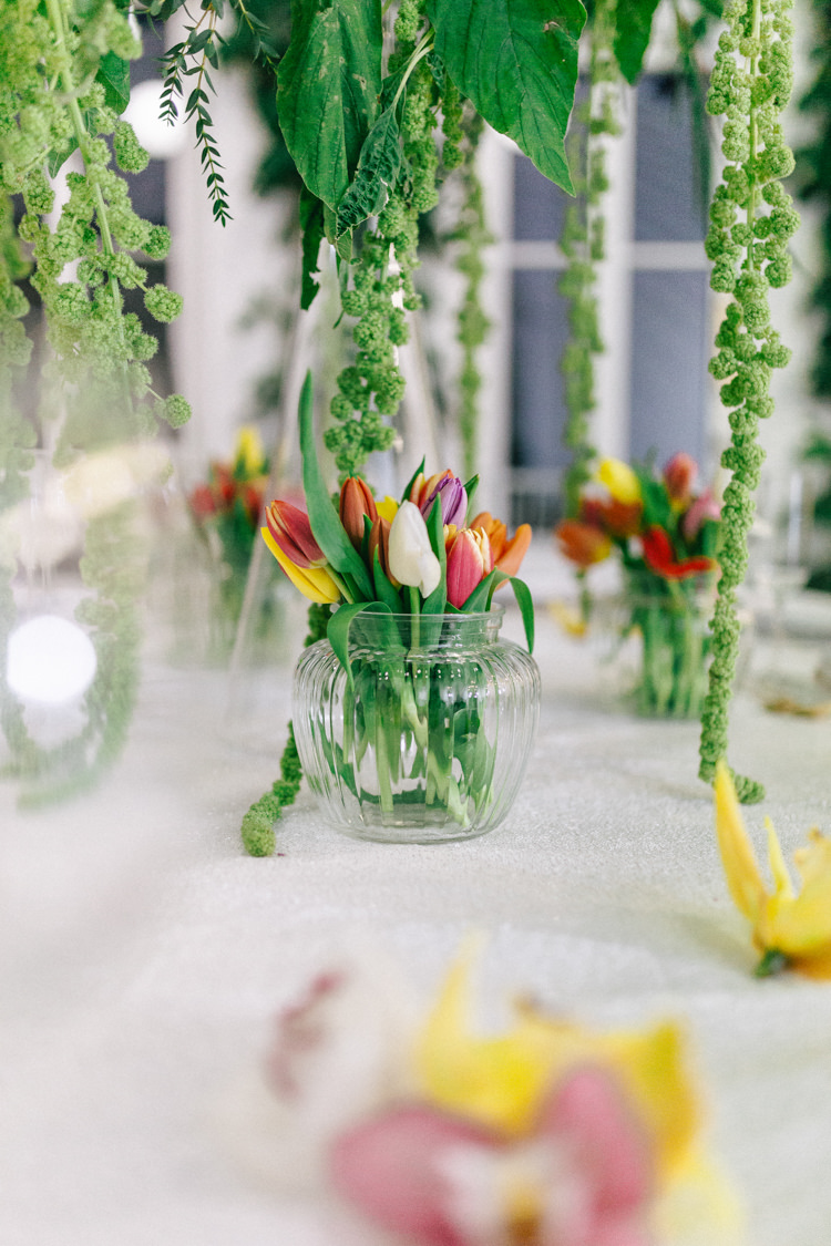 Tulips Glass Vase Table Modern Fresh Watercolour Wedding Ideas http://www.beatriciphotography.co.uk/