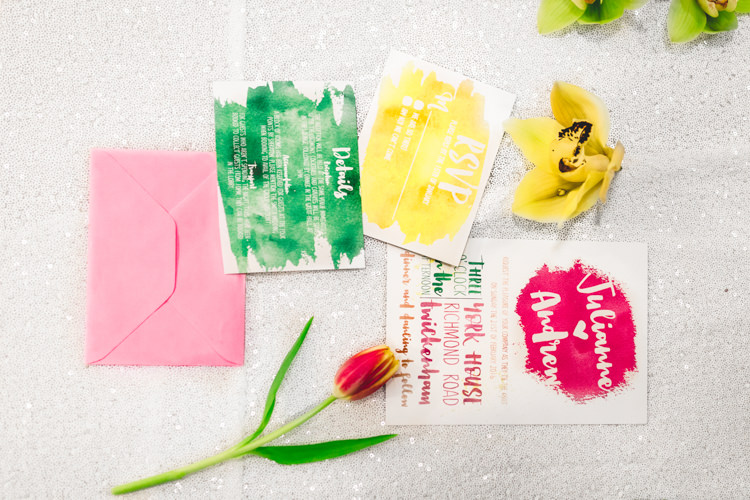 Stationery Bright Colourful Invitations Green Yellow Pink Modern Fresh Watercolour Wedding Ideas http://www.beatriciphotography.co.uk/