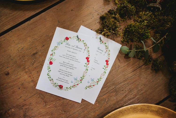 Floral Butterfly Stationery Menu Magical Fairytale Disney Wedding Ideas http://www.beckyryanphotography.co.uk/