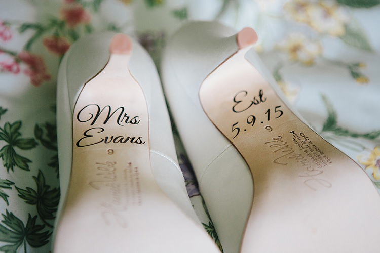 Personalised Shoes Harriet Wilde Bottoms Rustic Woodland Floral Wedding http://kellyjphotography.co.uk/