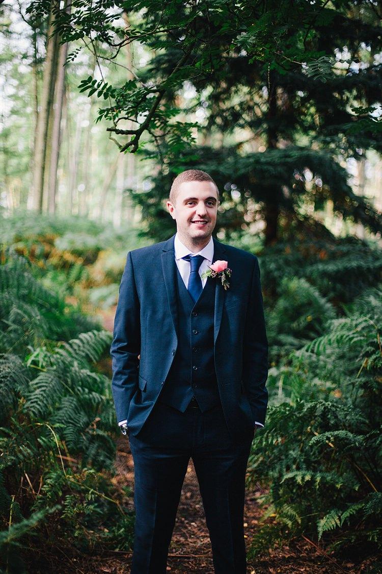 Debenhams Suit Groom Navy Rustic Woodland Floral Wedding http://kellyjphotography.co.uk/