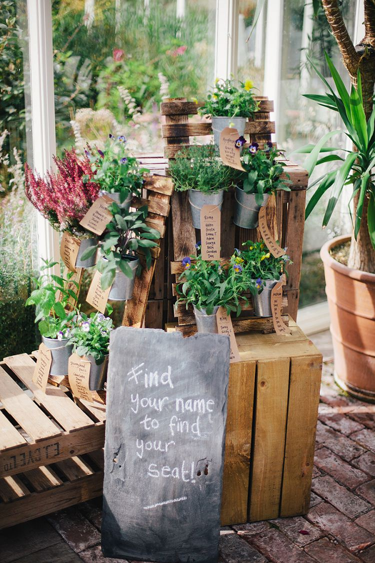 Crate Pallet Seating Table Chart Plan Potted Plants Rustic Woodland Floral Wedding http://kellyjphotography.co.uk/