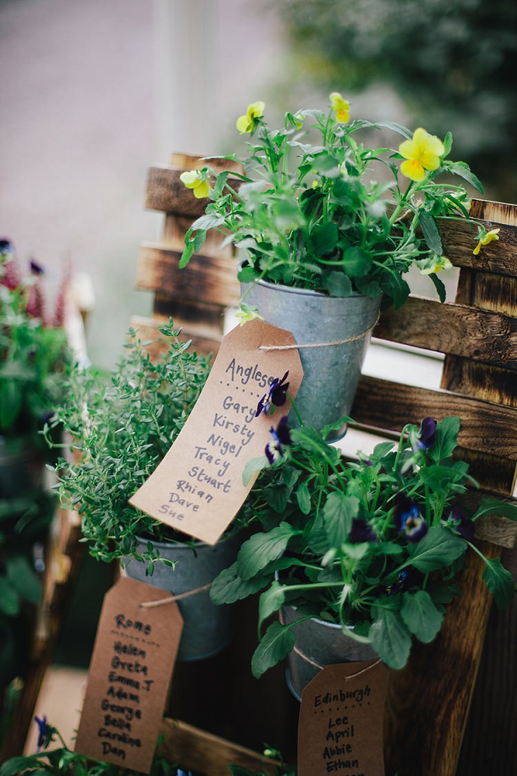 Potted Plant Seating Plan Table Chart Rustic Woodland Floral Wedding http://kellyjphotography.co.uk/