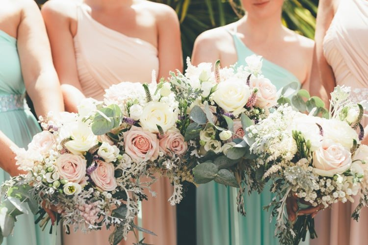 Bridesmaids Bouquets Summer Pastel Flowers Pink Boho Beer Festival Wedding http://www.emilysteve.com/