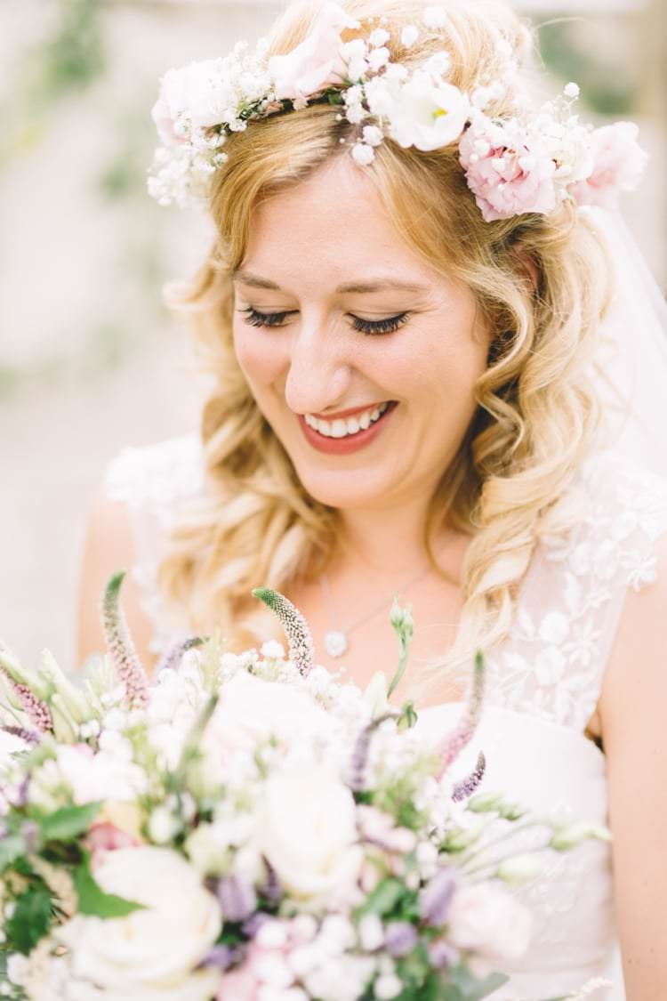 Flower Crown Bride Bridal Flowers Beautiful Boho Beer Festival Wedding http://www.emilysteve.com/