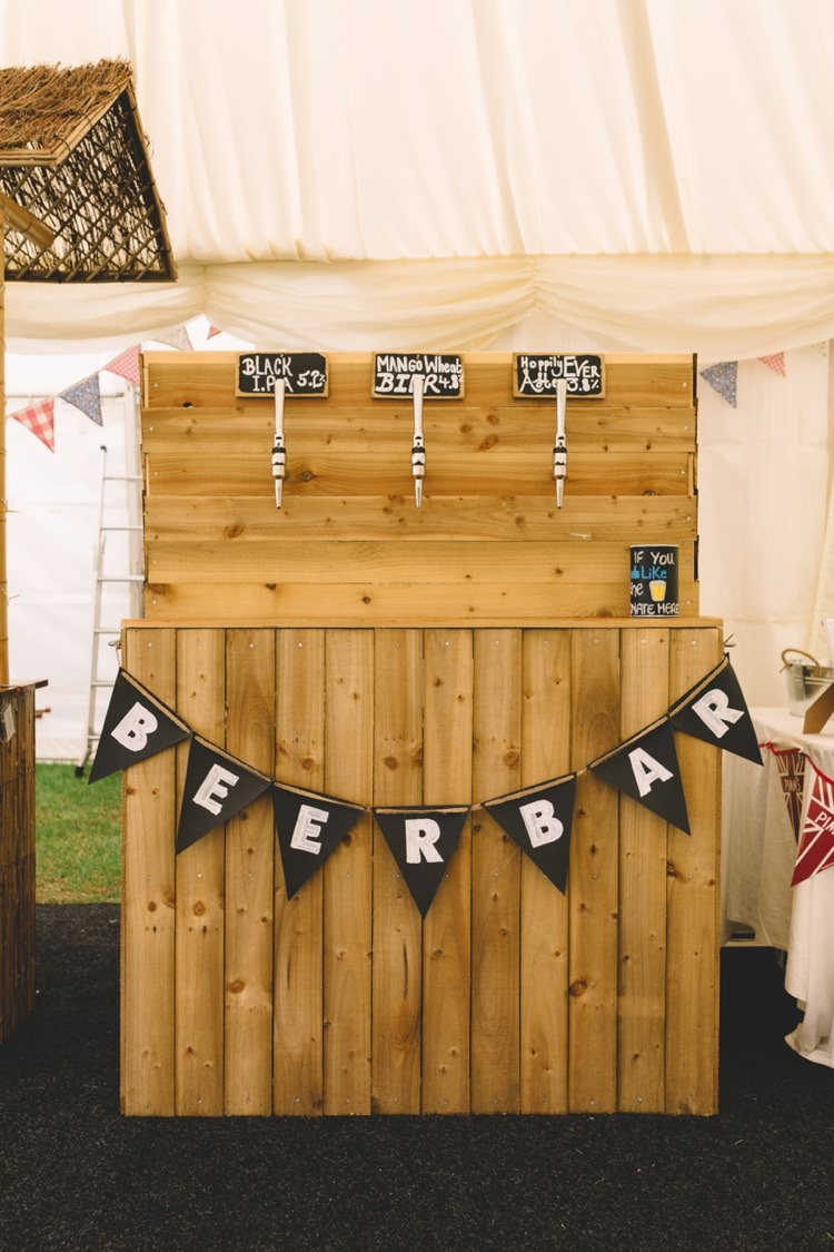 Rustic Wooden Bar Drink Station Boho Beer Festival Wedding http://www.emilysteve.com/
