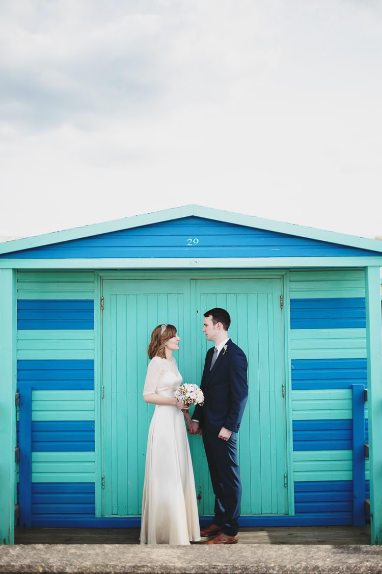 Beach Hut Bride Groom Blue Green Free Spirited Beautiful Beach Wedding https://www.paulfullerkentphotography.com/