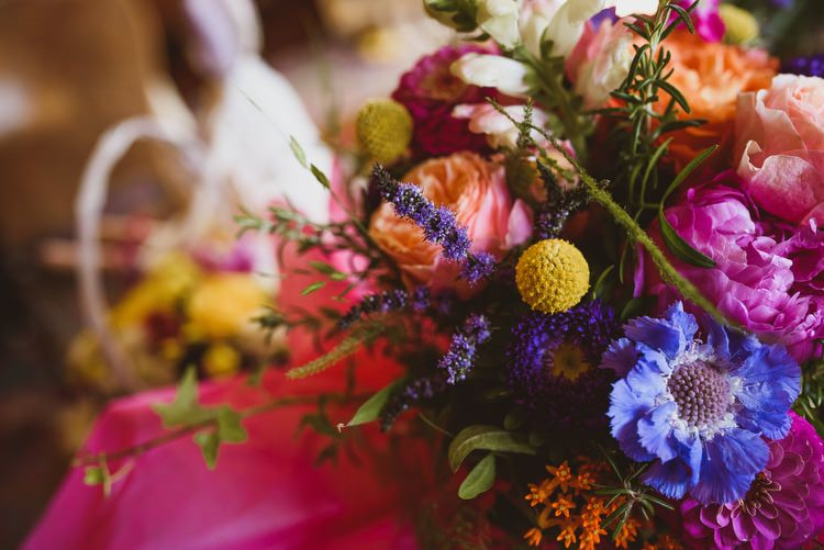 Colourful Multi Blooms Flowers Bouquet Blue Yellow Pink Crafty Botanical Natural Wedding http://www.jacksonandcophotography.com/