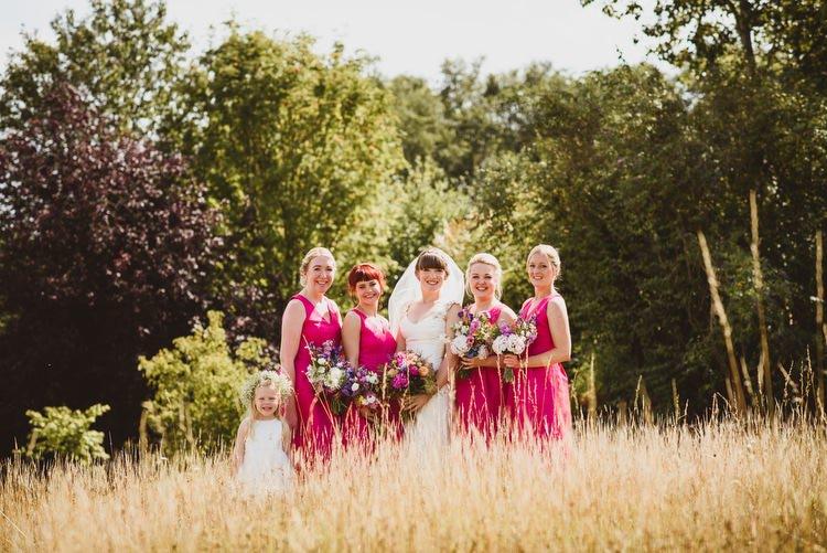 Bright Pink Magenta Bridesmaid Dresses Crafty Botanical Natural Wedding http://www.jacksonandcophotography.com/