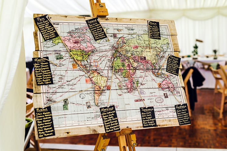 Map Travel Seating Plan Table Chart Rustic Relaxed Country Garden Wedding http://www.dmcclane.com/
