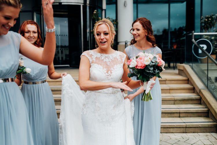 Long Grey Bridesmaid Dresses Metal Belt Coast Quirky Music City Wedding http://www.mariannechua.com/