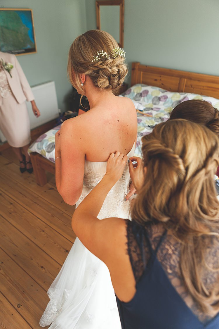 Flowers Hair Style Up Do Bride Bridal Navy Yellow Sunflowers Brewery Wedding http://www.jemmakingphotography.co.uk/