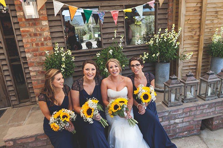 Long Bue Bridesmaid Dresses ASOS Navy Yellow Sunflowers Brewery Wedding http://www.jemmakingphotography.co.uk/