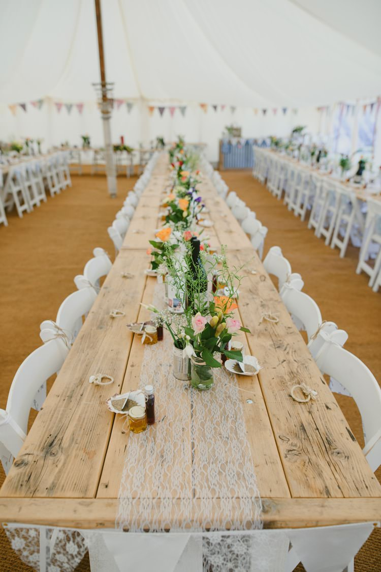 Long Table Flowers Lace Bunting Cloth Runner Indie Rustic Beach Marquee Wedding http://www.abiriley.co.uk/