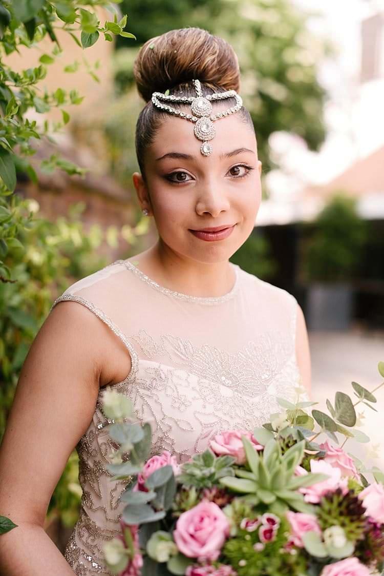Bride Bridal Hair Bun Make Up Headdress Tropical 1920s Pink Budget Wedding http://lilysawyer.com/
