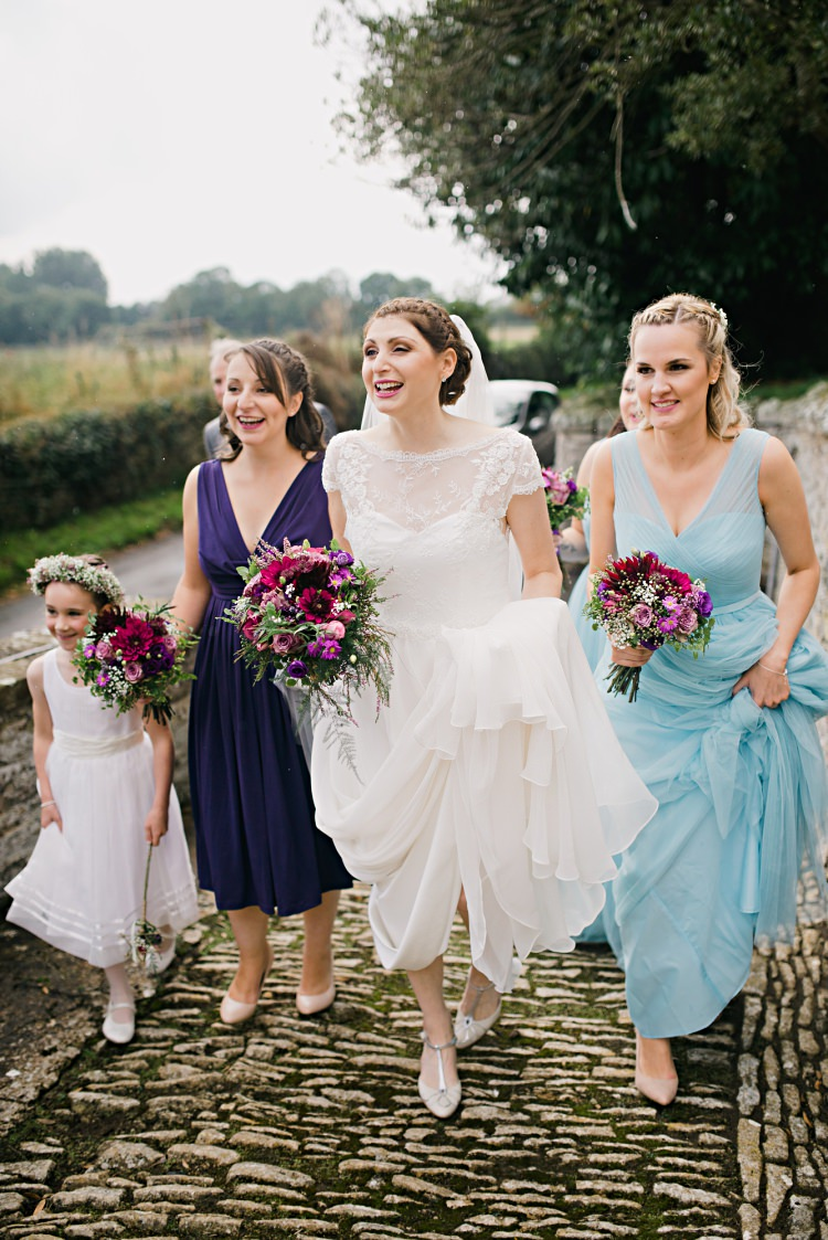 Bride Bridesmaids Walking Church Beautiful Bicycle Country Marquee Wedding http://www.emmabphotography.com/