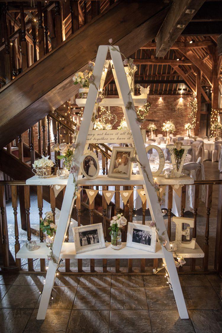 Ladder Decor Photos Fairy Lights Cosy Winter Barn Wedding http://kerryannduffy.com/
