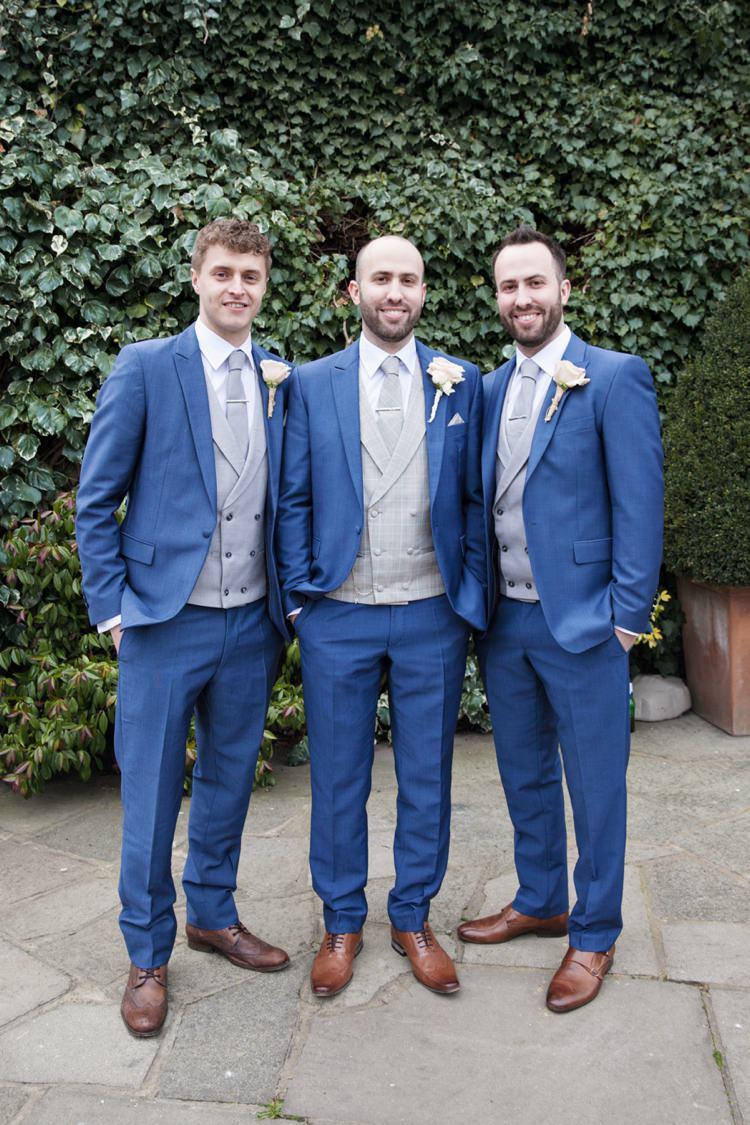 Blue Suit Tan Shoes Grey Waistcoat Groom Groomsmen Cosy Winter Barn Wedding http://kerryannduffy.com/