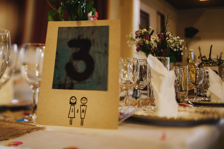 Table Numbers Creative Crafty Village Hall Wedding http://andygaines.com/