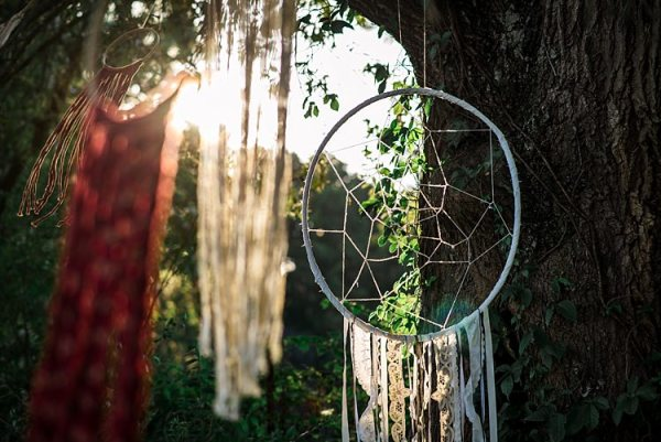 Outdoor Hanging Décor Multicoloured Dreamcatchers Trees Ethereal Boho Wedding Ideas http://perfectcapturephoto.com/