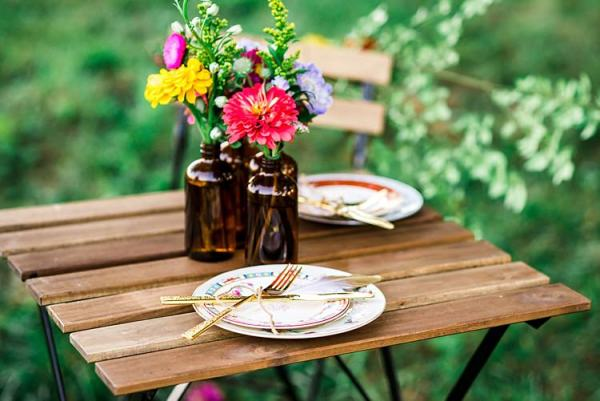 Table Setting Vintage China Gold Cutlery Multicoloured Florals Brown Glass Vases Ethereal Boho Wedding Ideas http://perfectcapturephoto.com/