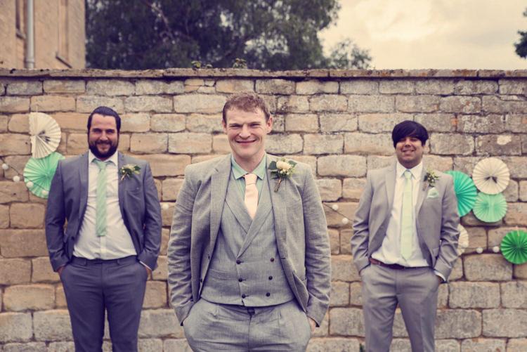 Groom Suit Grey Waistcoat Homespun Mint Yurt Wedding http://www.jessicaraphaelphotography.com/
