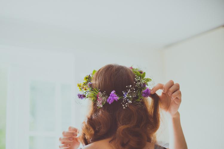 Flower Crown Bride Bridal Colourful Woodland Humanist Wedding http://sashaweddings.co.uk/
