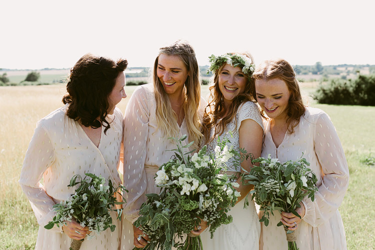 White Gold Sleeves Bridesmaid Dresses Bouquets Greenery Foliage Bohemian Outdoor Blessing Garden Wedding http://www.lukehayden.co.uk/