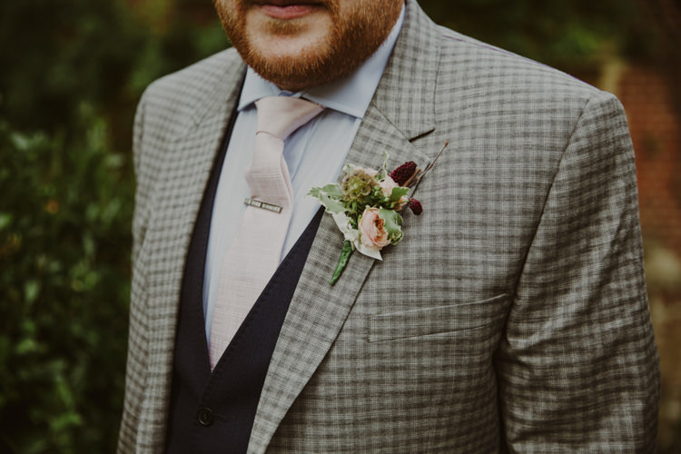 Check Suit Groom Punk Tie Pin Buttonhole Romantic Stylish Relaxed Sea Wedding http://www.oxiphotography.co.uk/