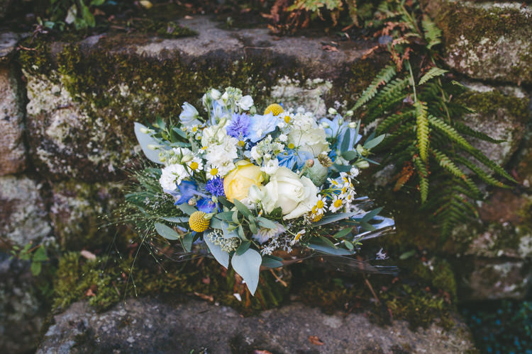 Yellow Bouquet Flowers Summer Bride Bridal Home Made Vintage Pale Blue Wedding http://www.elliegracephotography.co.uk/