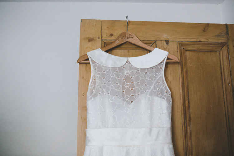 Peter Pan Collar Dress Gown Bride Bridal Home Made Vintage Pale Blue Wedding http://www.elliegracephotography.co.uk/