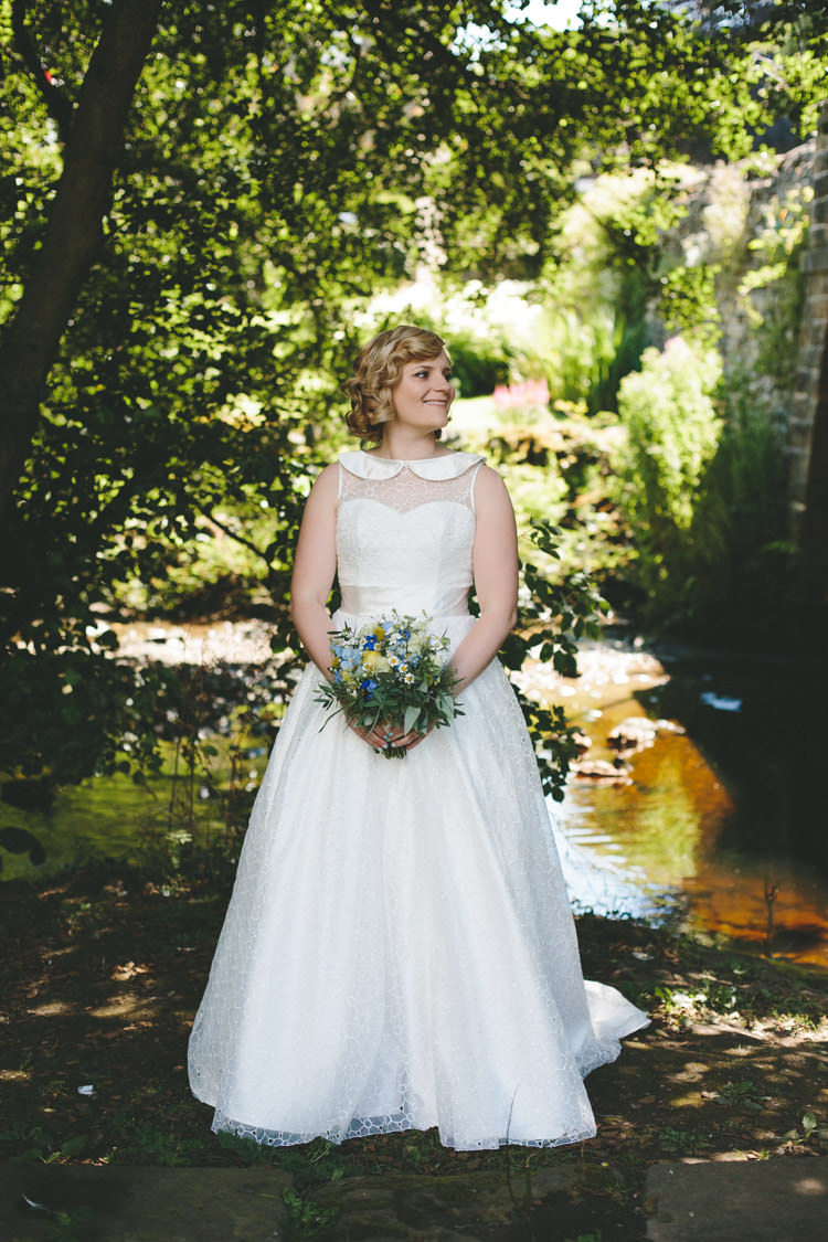 Bride Bridal Dress Gown Peter Pan Collar So Sassi Home Made Vintage Pale Blue Wedding http://www.elliegracephotography.co.uk/