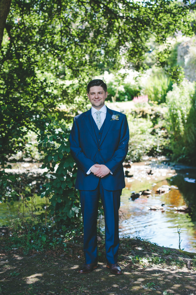 Blue Suit Floral Tie Groom Home Made Vintage Pale Blue Wedding http://www.elliegracephotography.co.uk/