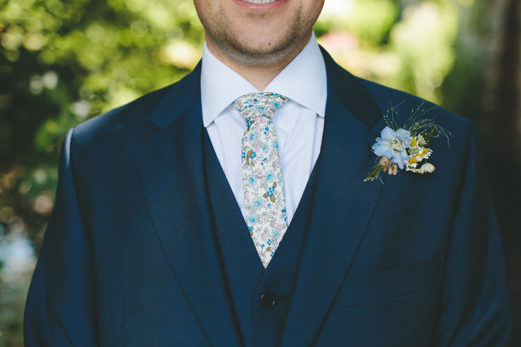 Floral Tie Groom Buttonhole Home Made Vintage Pale Blue Wedding http://www.elliegracephotography.co.uk/