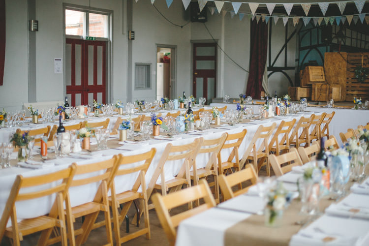 Long Tables Hall Flowers Home Made Vintage Pale Blue Wedding http://www.elliegracephotography.co.uk/