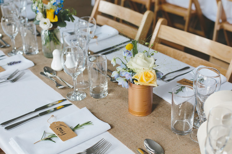 Tin Can Flowers Hessian Table Cloth Home Made Vintage Pale Blue Wedding http://www.elliegracephotography.co.uk/