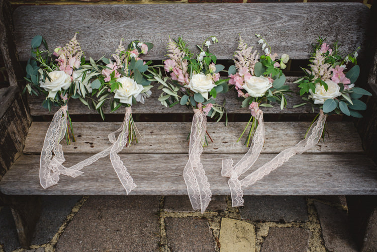 Pink Bridesmaid Bouquets Lace Ribbon Magical Fun Outdoor Barn Wedding http://www.sophieduckworthphotography.com/