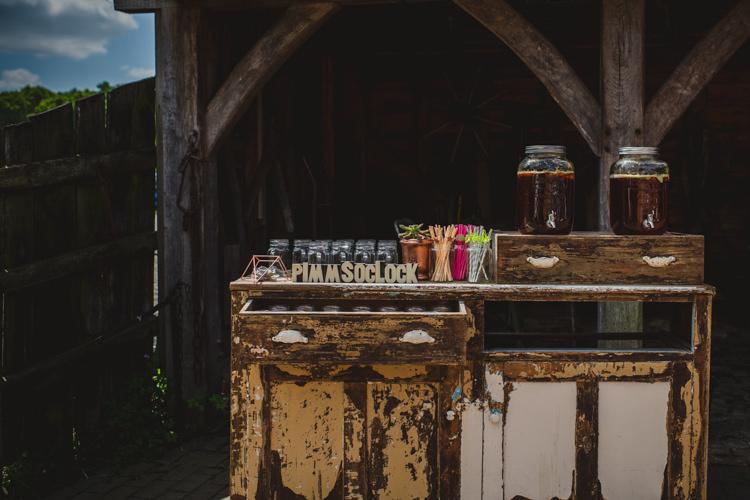 Furniture Drink Station Bar Magical Fun Outdoor Barn Wedding http://www.sophieduckworthphotography.com/