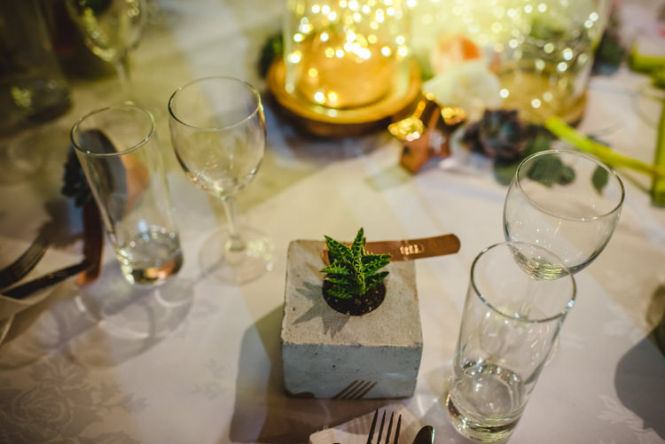 Concrete Planter Succulent Favours Magical Fun Outdoor Barn Wedding http://www.sophieduckworthphotography.com/