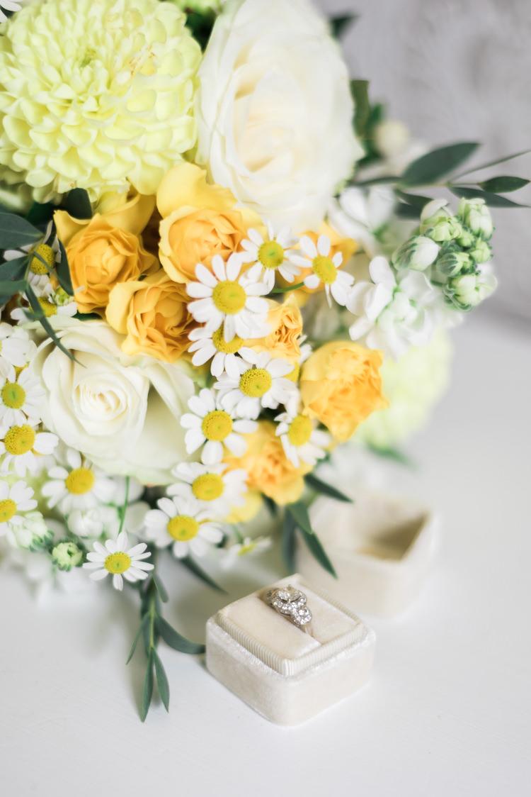 Yellow White Bouquet Rose Daisy Engagement Ring Halo Camping Festival Rave Tipi Wedding http://petalandblushartistry.co.uk/