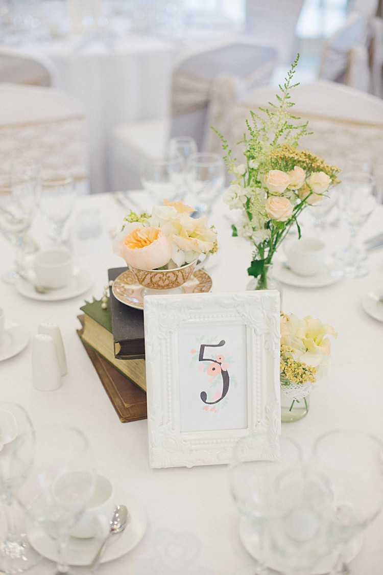 Floral Table Number Stationery Frame Natural Peach Garden Wedding http://www.juliaandyou.co.uk/