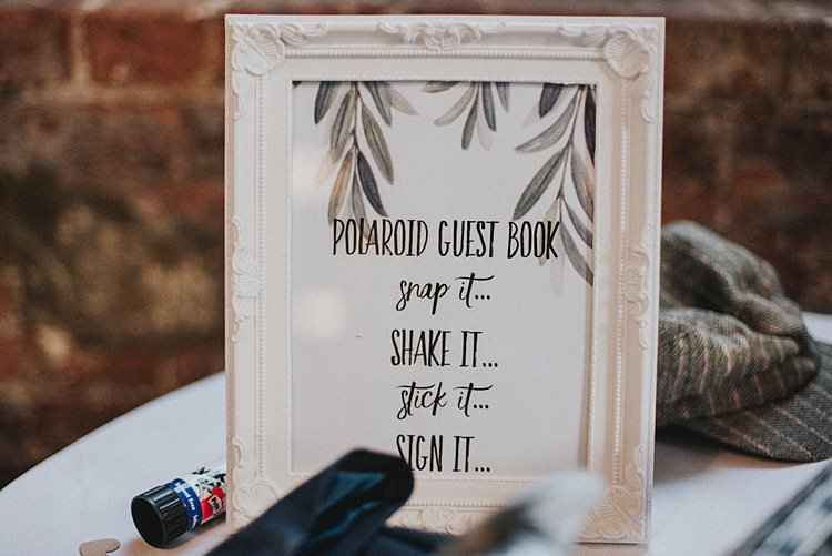 Polariod Guest Book Industrial Cool Mill Greenery Wedding http://www.beckyryanphotography.co.uk/