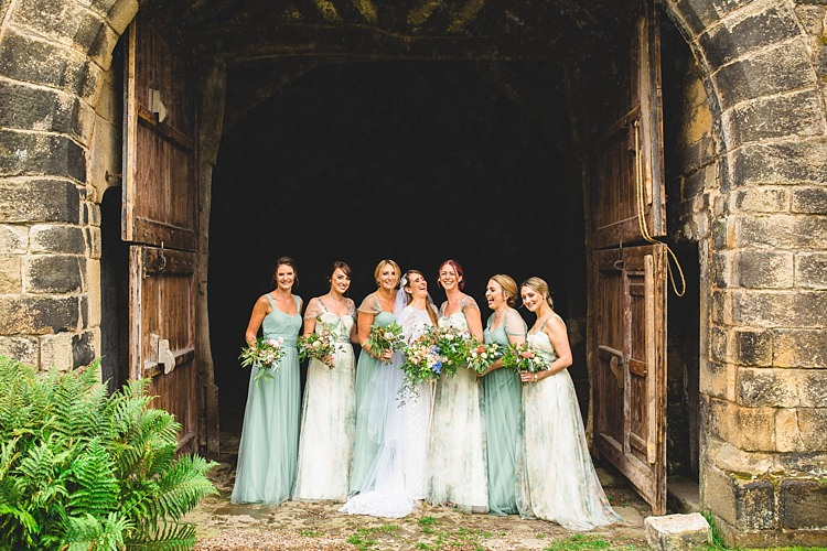 Green Floral Bridesmaid Dresses Long Eclectic Foliage Edison Lights Wedding http://www.tobiahtayo.com/