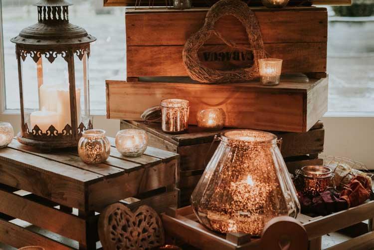 Candles Decor Crates Rose Gold Autumn Barn Wedding http://www.weddingphotographyincheltenham.co.uk/
